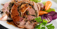 Garlic & Rosemary Roast Leg of Lamb with Olives