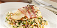Pancetta Wrapped Chicken & Cannellini Bean Salad